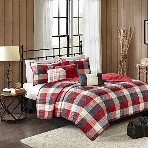 Ridge Madison (Madison Park Ridge Full/Queen Size Quilt Bedding Set - Red, Plaid – 6 Piece Bedding Quilt Coverlets – Ultra Soft Microfiber Bed Quilts Quilted Coverlet)