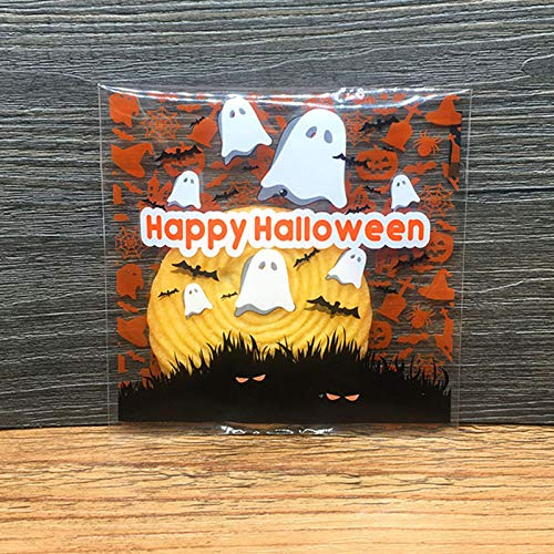 100pcs Halloween Plastic Ghost Candy Bag Cookie Bucket Storage Party Gift Decor
