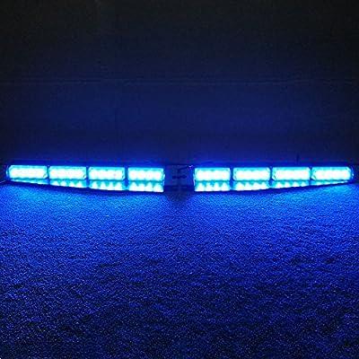VSLED 2-16 LED 32 Watt Blue LED Light Car Truck Emergency Beacon Light Bar Exclusive Split Visor Deck Dash Strobe Warning LightBar: Automotive