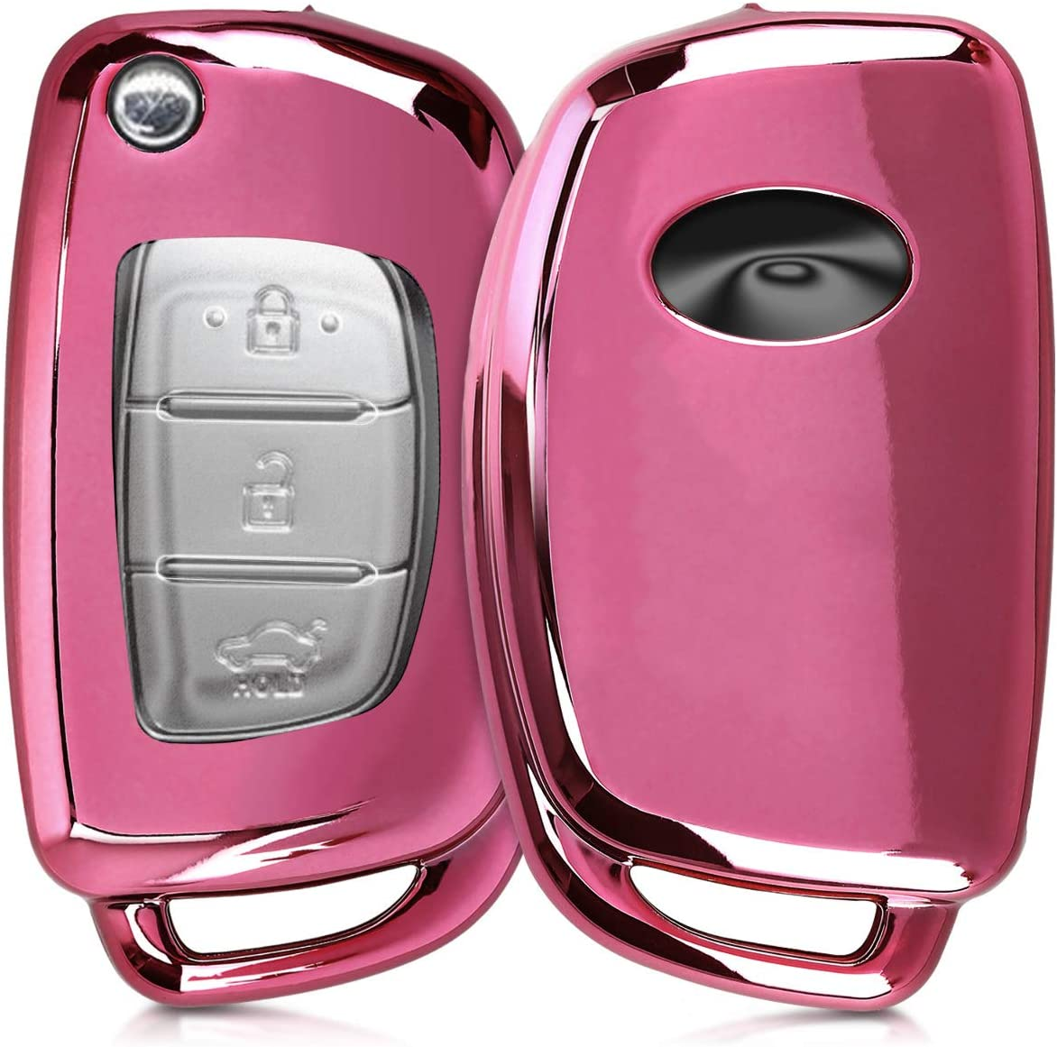 kwmobile Funda Compatible con Hyundai Llave de Coche Plegable de 3 Botones - Carcasa Suave de TPU - Cover de Mando y Control de Auto en Rosa Oro Brillante