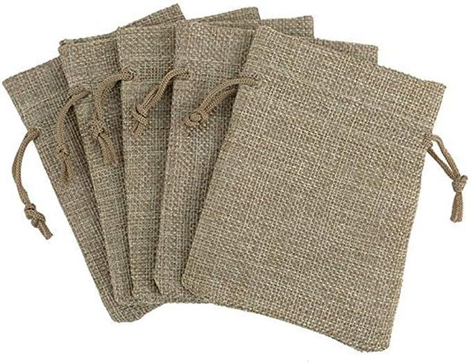 Rustic wedding favor Wedding favor bags French gift bags 50 pcs ~ Drawstring linen bags Linen favor bag Taupe Grey linen bags