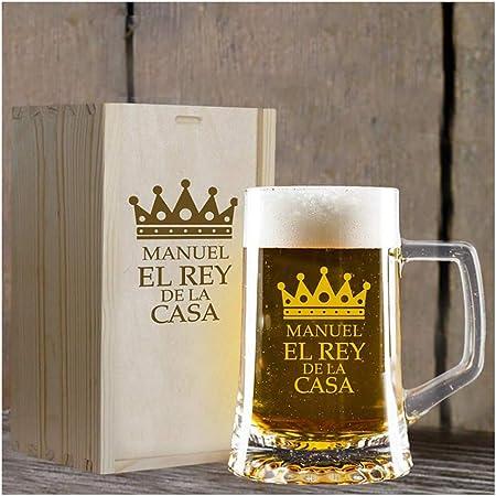 Calledelregalo Regalo Personalizado: Jarra de Cerveza El Rey de la casa grabada con su Nombre en Estuche de Madera también Grabado: Amazon.es: Hogar