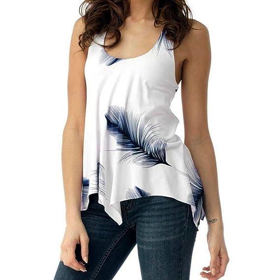 Camisetas Mujer,EUZeo❤️Moda Pluma Mujer Verano Tops Floral Impreso Blusa Camisetas Sin Mangas