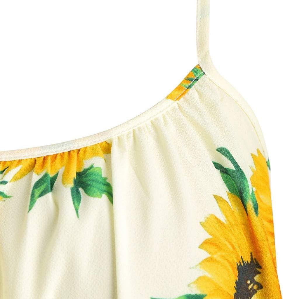 Womens Sunflowers Midi Dress Spaghetti Straps Loose Fitting Floral Printed Sun Dresses Summer Casual Tshirt Dress Flowy Pleated Sleeves Flowers Tank Dress