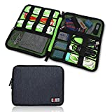 Electronics Organizer Travel Cord Cable Pouch Case for Falsh Hard Disk, Cables, USB, Memory Cards, Phone Charger, Power Bank Carry Case(One Layer Black)