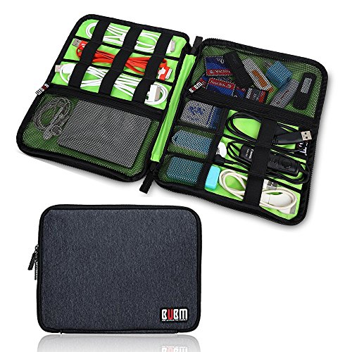 Electronics Organizer Travel Cord Cable Pouch Case for Falsh Hard Disk, Cables, USB, Memory Cards, Phone Charger, Power Bank Carry Case(One Layer Black) by Highimpro Store