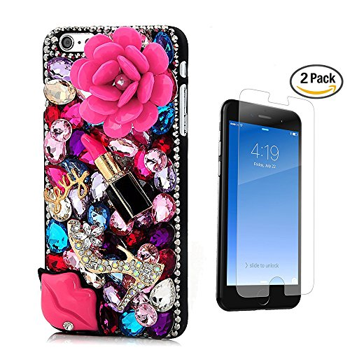 STENES iPhone 6S Case - [Luxurious Series] 3D Handmade Crystal Sparkle Bling Case With Screen Protector & Retro Bowknot Anti Dust Plug - Pretty Rose Crystal High Heel Sexy Lips ()