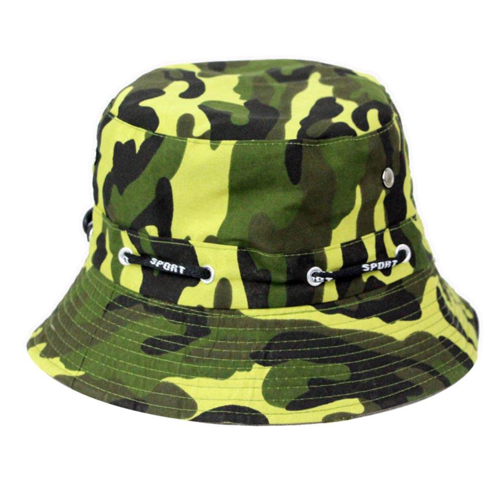 QiancArolBD Fashion Camouflage Sun Block Bucket Hat,Outdoor,Breathable,Hiking,Fishing Cap Dark Green