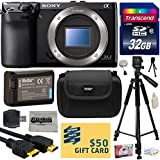 Sony NEX-7 NEX7 NEX7/B Compact 24.3 MP Mirrorless Interchangeable Lens Camera - (Body Only) with Best Value Accessories Bundle Kit includes includes 32GB Class 10 SDHC Memory Card + Replacement (1200mAh) NP-FW50 Battery + Professional 60 Inch Photo/Video Tripod + Hard Shell Carrying Case + High Speed USB Reader/Writer + HDMI Cable + Camera Lens Cleaning Kit + Bonus $50 Gift Card for Digital Prints
