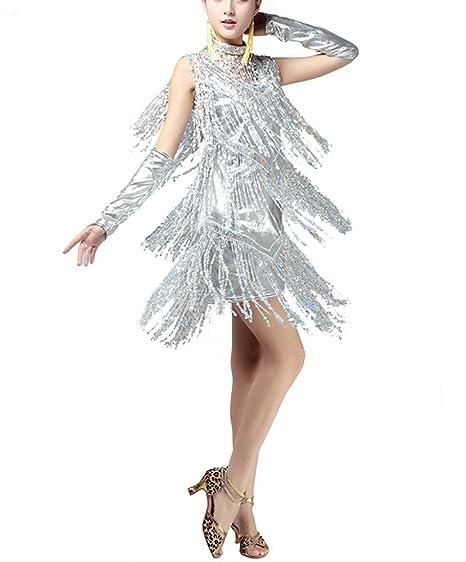 bb4292e7234f whitewed V Neck 1920s Sequin Fringe Charleston Flapper Dance Dresses  Costumes: Amazon.co.uk: Clothing