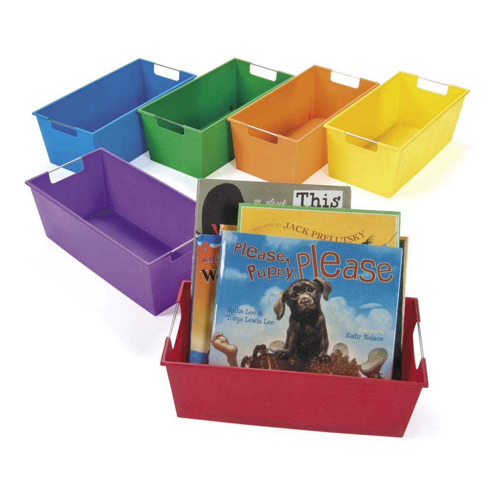 Picture Book Library Storage, Classroom Storage, Organization, Bins, Caddies, Storage Containers, Set of 6 by Fun Express