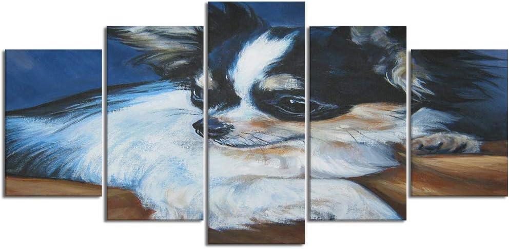 YOUMEISU Cuadro en Lienzo,5 Partes Pintura al óleo Chihuahua Perro Retrato Mascota Mascotas realismo l.a.Shepard Puppy de Arte de Pared Decoración del Hogar para el Cartel Modular