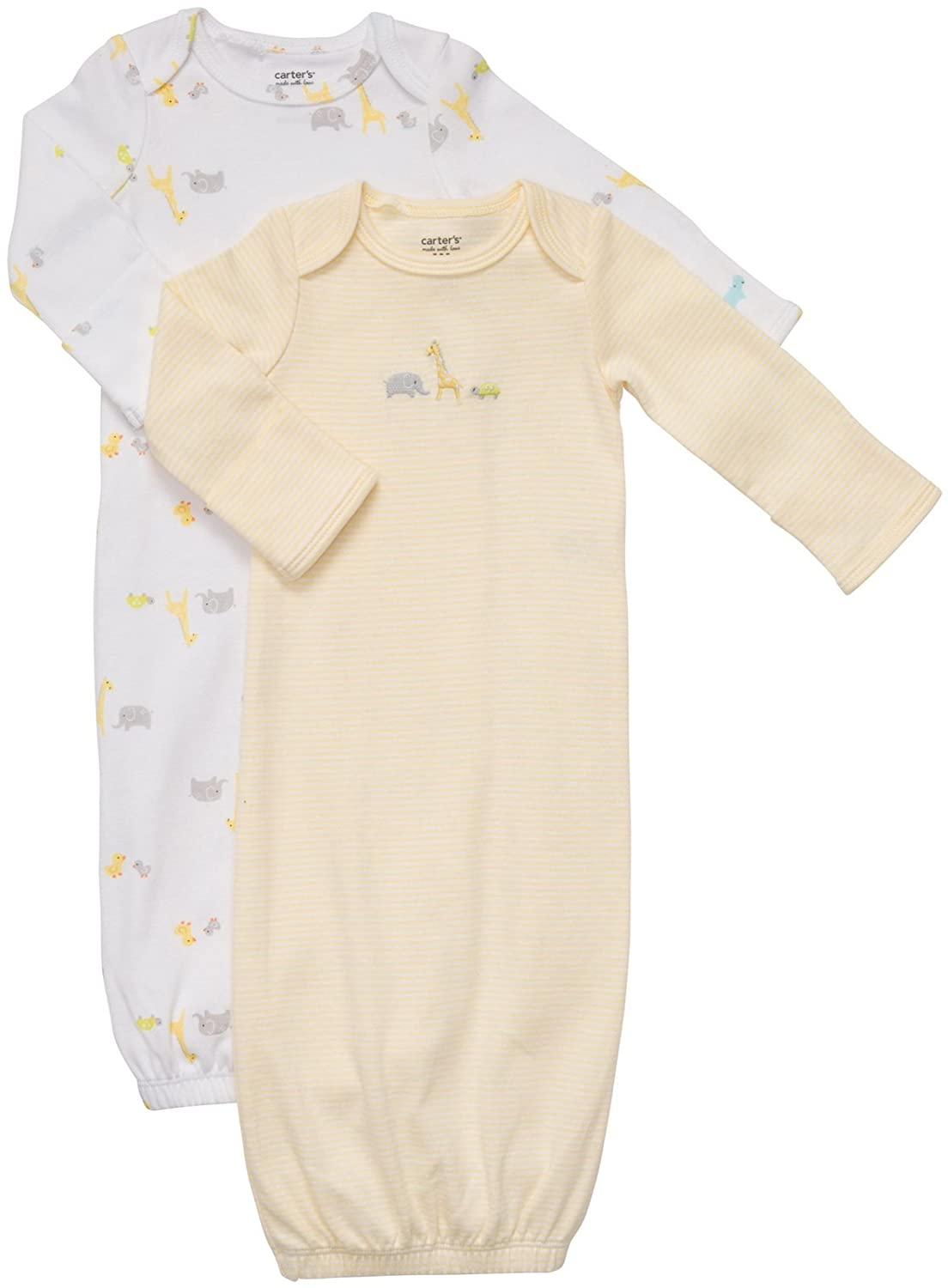 Amazon.com: Carter\'s Baby Boy\'s 2-Pack Gowns - Safari Friends ...