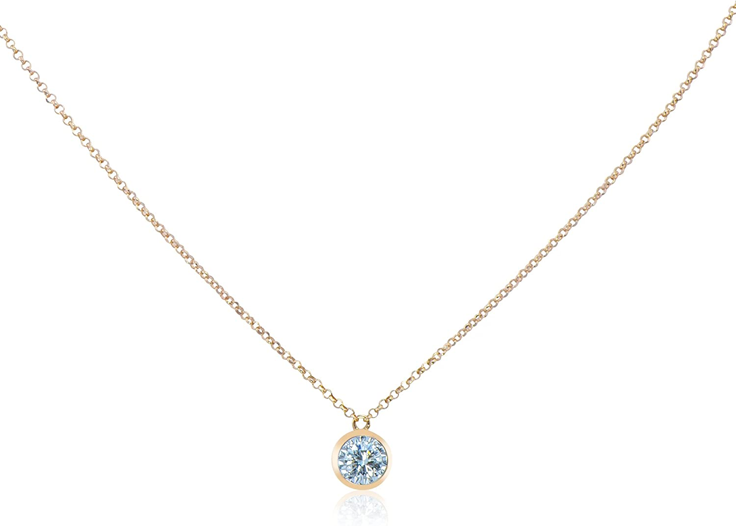 Crystal April Birthstone 18-Inch Hamilton Gold Plated Necklace with 6mm Crystal Birthstone Beads and 5-Way Charm