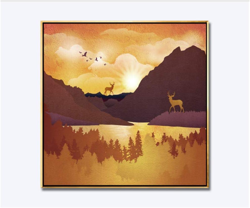 LIPENGYU Cuadro en LienzoAbstracto nórdico bosques Dorados montañas Alces Decorativo -30x30cm Sin Marco