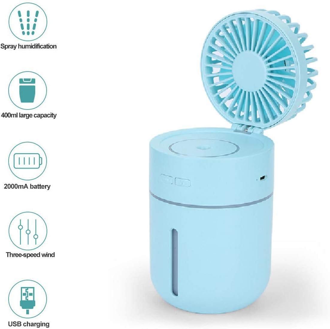 Vivi Bear Mini humidificador Ventilador atomización pequeño Ventilador con Spray Negativo Ionic súper Mudo luz de la Noche USB de Carga portátil Ventilador portátil ...