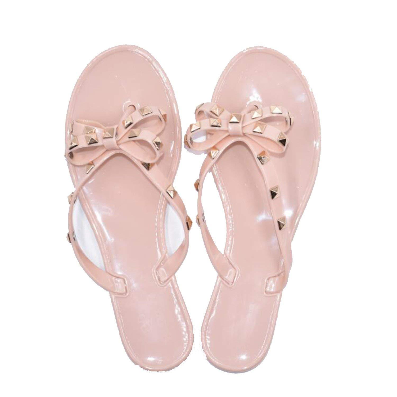Woman Flip Flops Shoes Cool Beach Rivets Big Bow Flat Sandals Jelly Shoes Sandals Girls
