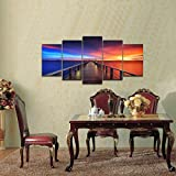 Pyradecor Sunset Bridge 5 Panels Modern Seascape Artwork Giclee Canvas Prints Landscape Pictures Paintings on Stretched and Framed Canvas Wall Art Ready to Hang for Home Decor