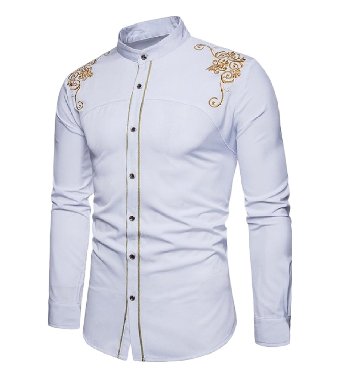 SportsX Men Embroidery Stylish Wedding Long Sleeve Stand up Collar Shirts White M