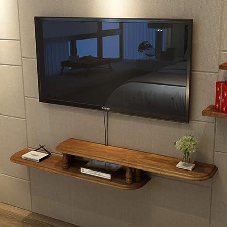 Asimétrica Flotante Consola para TV,Madera Pared TV Mueble Decoración del Hogar Pared Colgante Almacenamiento para Set-Caja De Cable Superior A 160x20x16cm(63x8x6inch): Amazon.es: Hogar