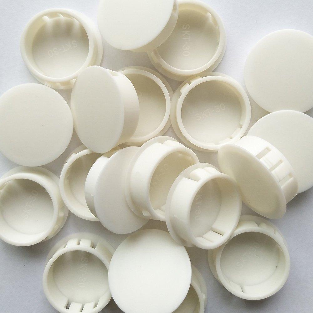 YEJI 25PCS 1-2/11, 30mm, 1.18in Panel Plugs Hole Plugs (Mounting Hole: 29.8-30.5mm), Plastic Flush Type Hole Plugs, Home Furniture Fastener, Plastic Pipe Choke Plug, White Color