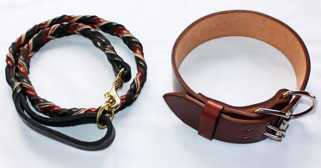 Pitbull & Big Large Breeds Mahogany Leather Dog Collar and Braided Leash Lead Pet Training Set (2'' Width Fits 16-19'' neck, 4' Leash)
