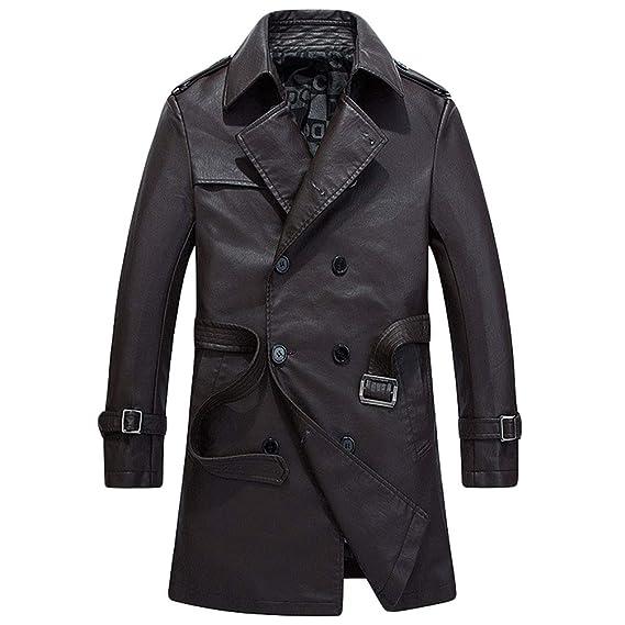 41456ce479507 WanYangg Manteau Cuir Trench Coat Homme, Hommes Automne Et Hiver Long Slim  Fit Veste en