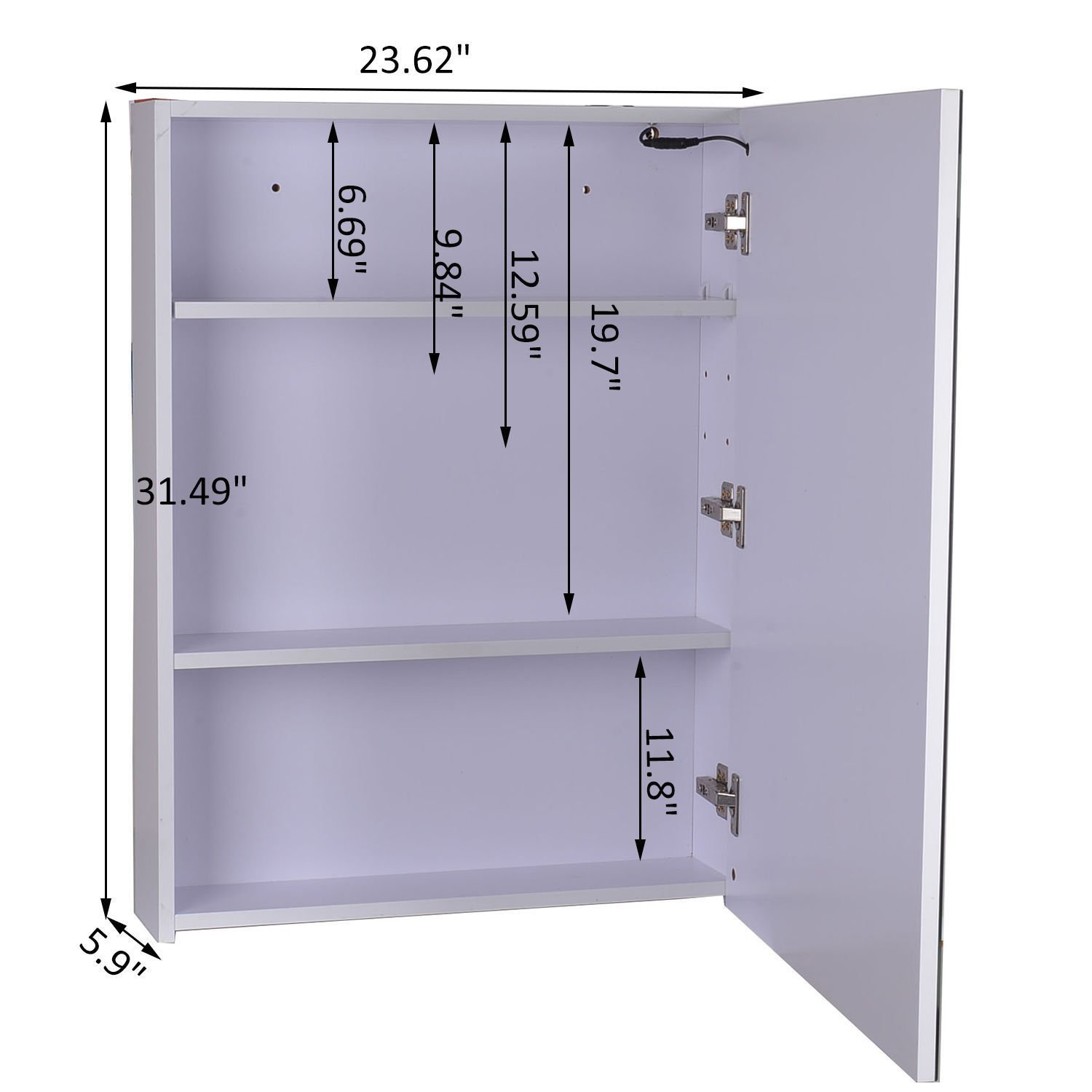 LED Wall Cabinet Mirror Wall Mounted Bathroom Medicine Cabinet w/ 3 Compartments With Ebook