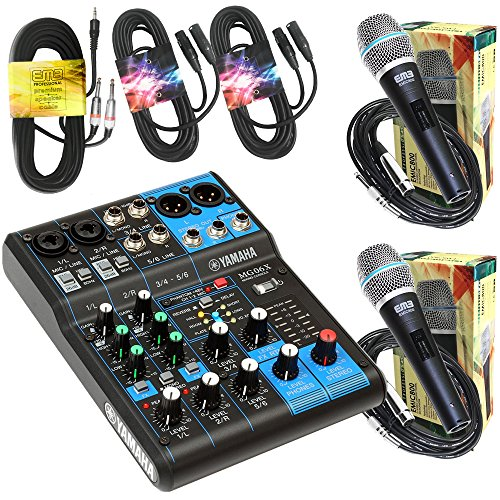 """Yamaha Package Bundle - Yamaha MG06X 6-Channel Mixer + 2 EMB Emic800 Microphone + 2 XLR XLarge Cables + 3.5mm to Dual 1/4"""" Cable"""
