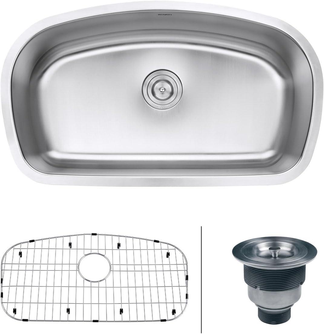 Ruvati RVM4210 Undermount 16 Gauge 33 Kitchen Single Bowl Sink, Stainless Steel