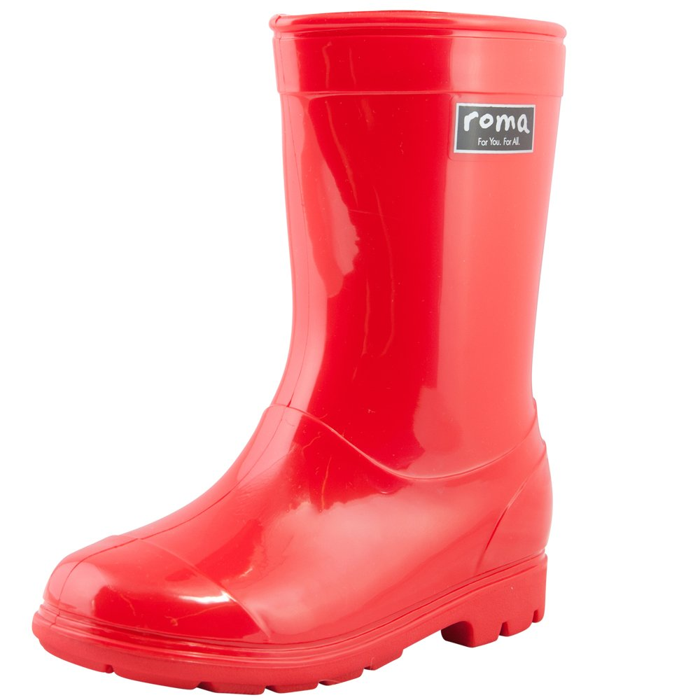 Roma Kids ABEL Classic Rain Boots (12 Toddler, Red)