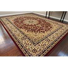 """Dunes Traditional Isfahan High Density 1"""" Thick Wool 1.5 Million Point Persian Area Rug, 2' x 7', Burgundy"""