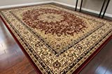 "Dunes Traditional Isfahan High Density 1"" Thick Wool 1.5 Million Point Persian Area Rug, 8' x 10', Burgundy"