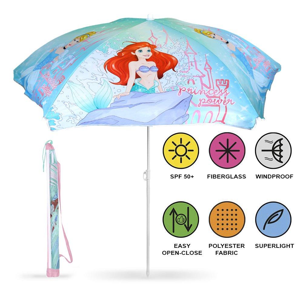 PERLETTI 50427 - Sombrilla para Niña Princesas Disney, Parasol Azul en Poliéster, Diámetro 125 cm, Protección contra los Rayos UV FPS 50+ Perletti S.P.A.