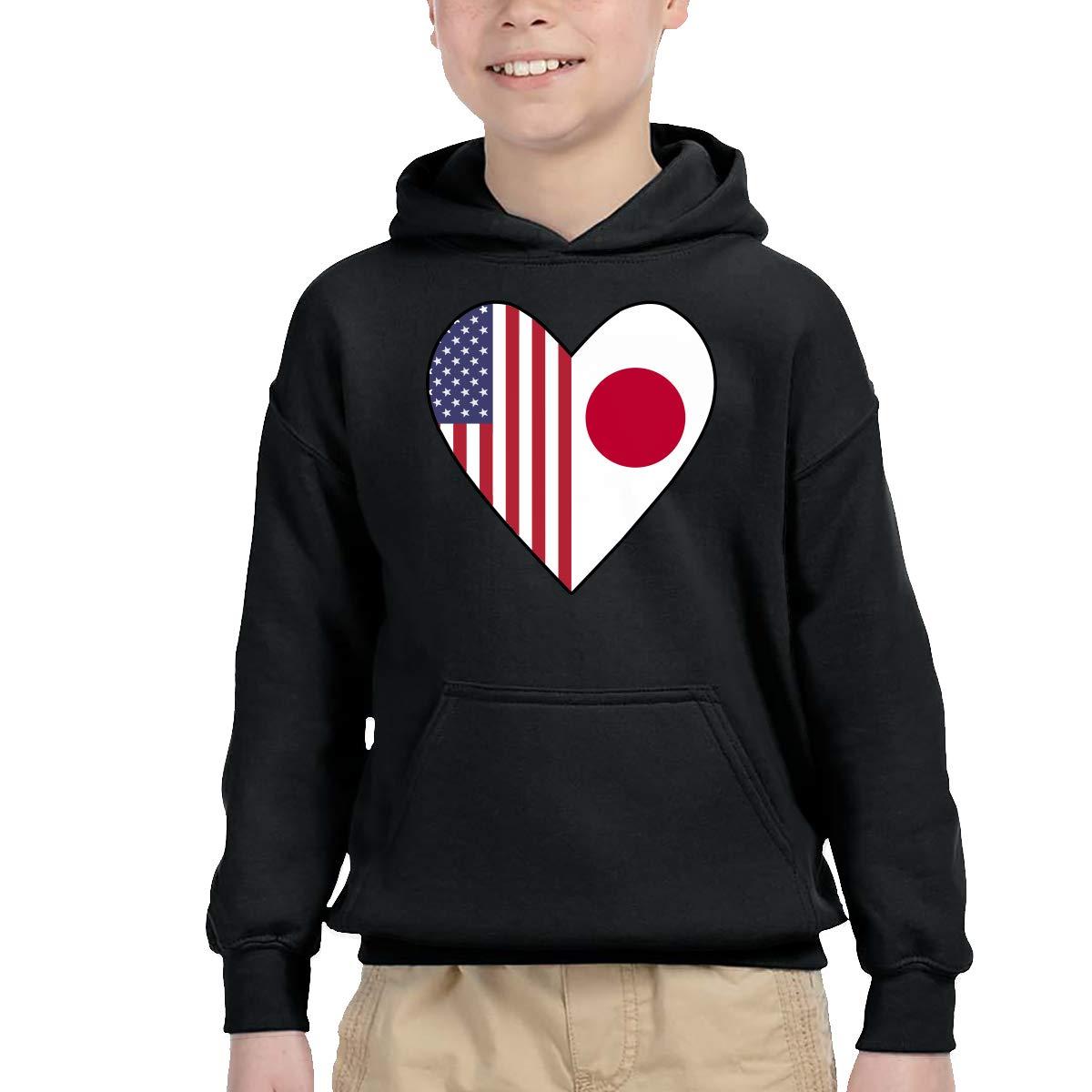 Kids /& Toddler Pullover Hoodie Fleece Half Japan Flag Half USA Flag Love Heart Sweater