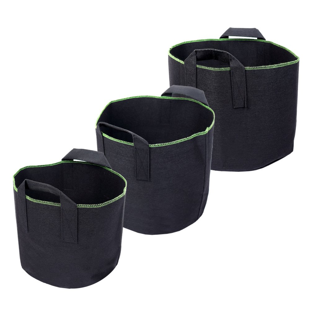 Schramm Fleece Fabric Grow Bags 15, 20, 30Liter Stock Set of 3Garden Sack Fleece Fabric Planter Planter Pot to Grow Planter Bag Schramm-Onlinehandel