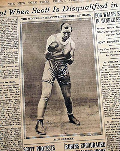 JACK SHARKEY v. Phil Scott Heavyweight BOXING Fight Match 1930 Old NYC Newspaper THE NEW YORK TIMES, February 28, 1930