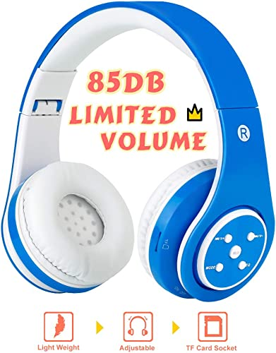 Midola Volume Limited 85dB Kids Headphone Bluetooth Wireless Over Ear Foldable Stereo Sound Noise Protection Headset with AUX 3.5mm Cord Mic for Boys Girls Kids Cellphone pad Tablets TV Blue