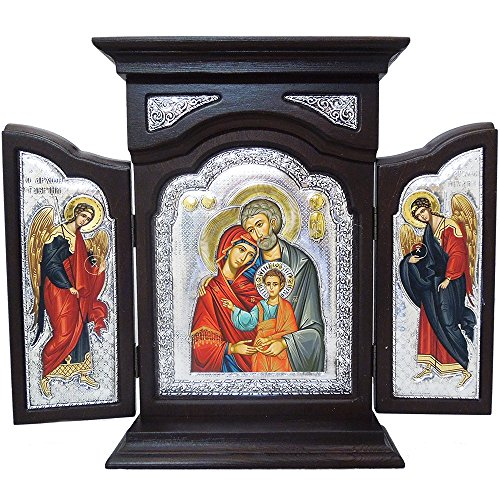 Large Wood Shrine Silver Serigraph Holy Family With Archangel Michael & Gabriel NEW 11 1/2
