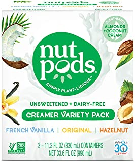 product image for nutpods Variety 3 pack, Original, French Vanilla and Hazelnut Unsweetened Dairy-Free Liquid Coffee Creamer Made From Almonds and Coconuts