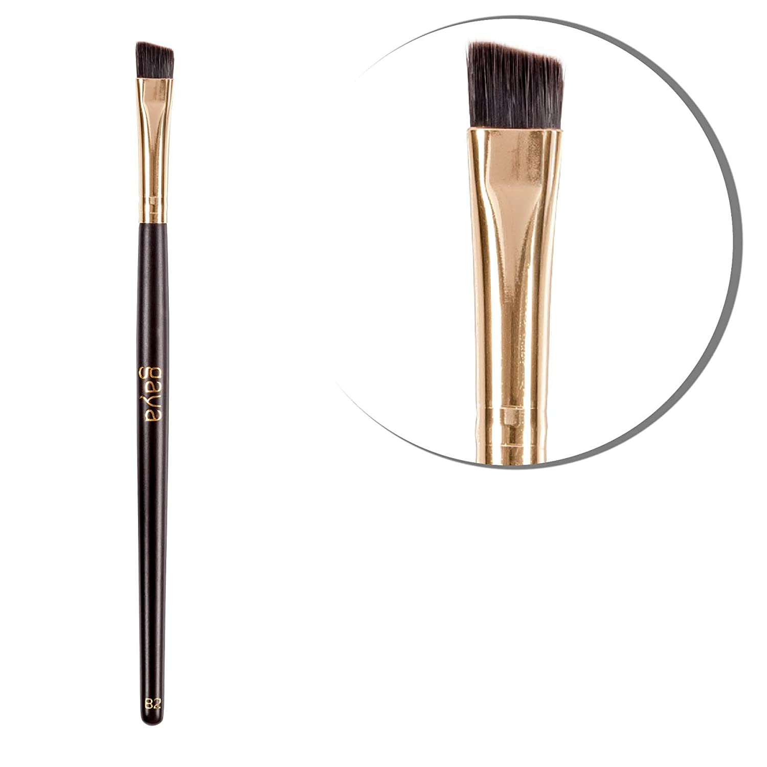Angled Liner Defining Makeup Brush - B2 Vegan Professional High Quality Durable Synthetic Fiber Make Up Lining Brush - Define & Line Your Eyes & Eyebrows with Ease