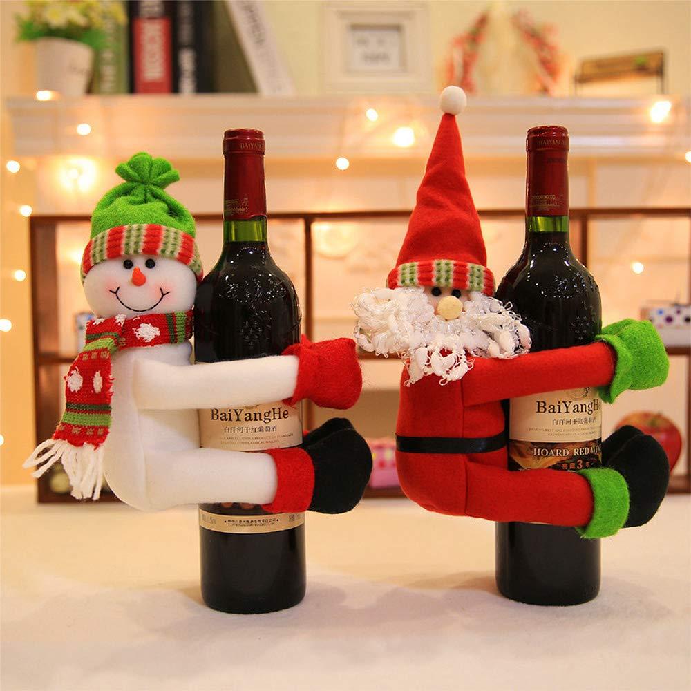 Gudotra 3pcs Bolsa de Vino de Navidad, Santa Claus Botella de Vino Cubierta Bolsas Conjunto Vino Rojo Muñeco de Nieve para la Decoración de la Mesa del Cena ...