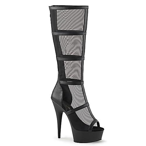 25f5a04542 Summitfashions Womens Black Knee High Boots Mesh Panels Caged Heels  Platform 6 Inch Heels Size: