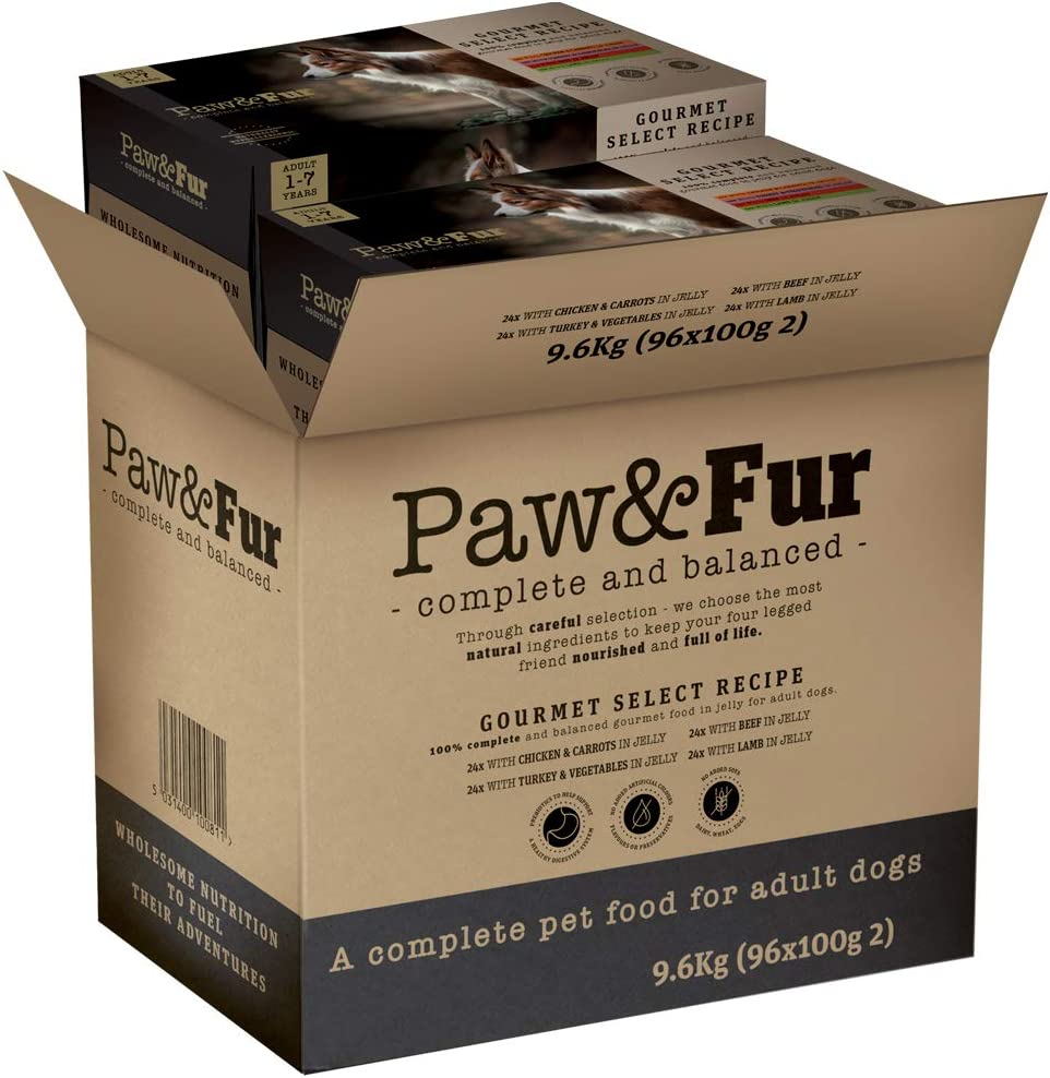 Premium Wet Dog Food Adult Dogs 96-Pack 100g Paw/&Fur Gourmet Gravy Selection