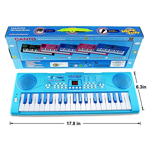 M SANMERSEN Sanmersen Kids Piano Keyboard 37 Key Multi-function Portable Electronic Digital Piano Play with Double Speakers Colorful Lights Educational Toy for 3-6 Year Old Boys Girls
