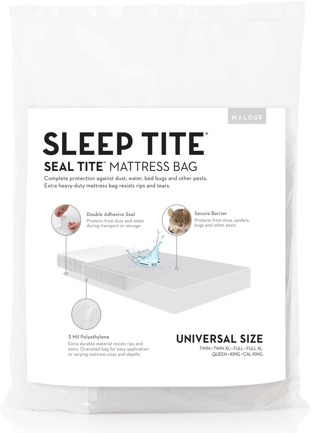 MALOUF Seal TITE Heavy Duty Sealable Bag-Protects Your Mattress While Moving or in Storage, Full/Queen