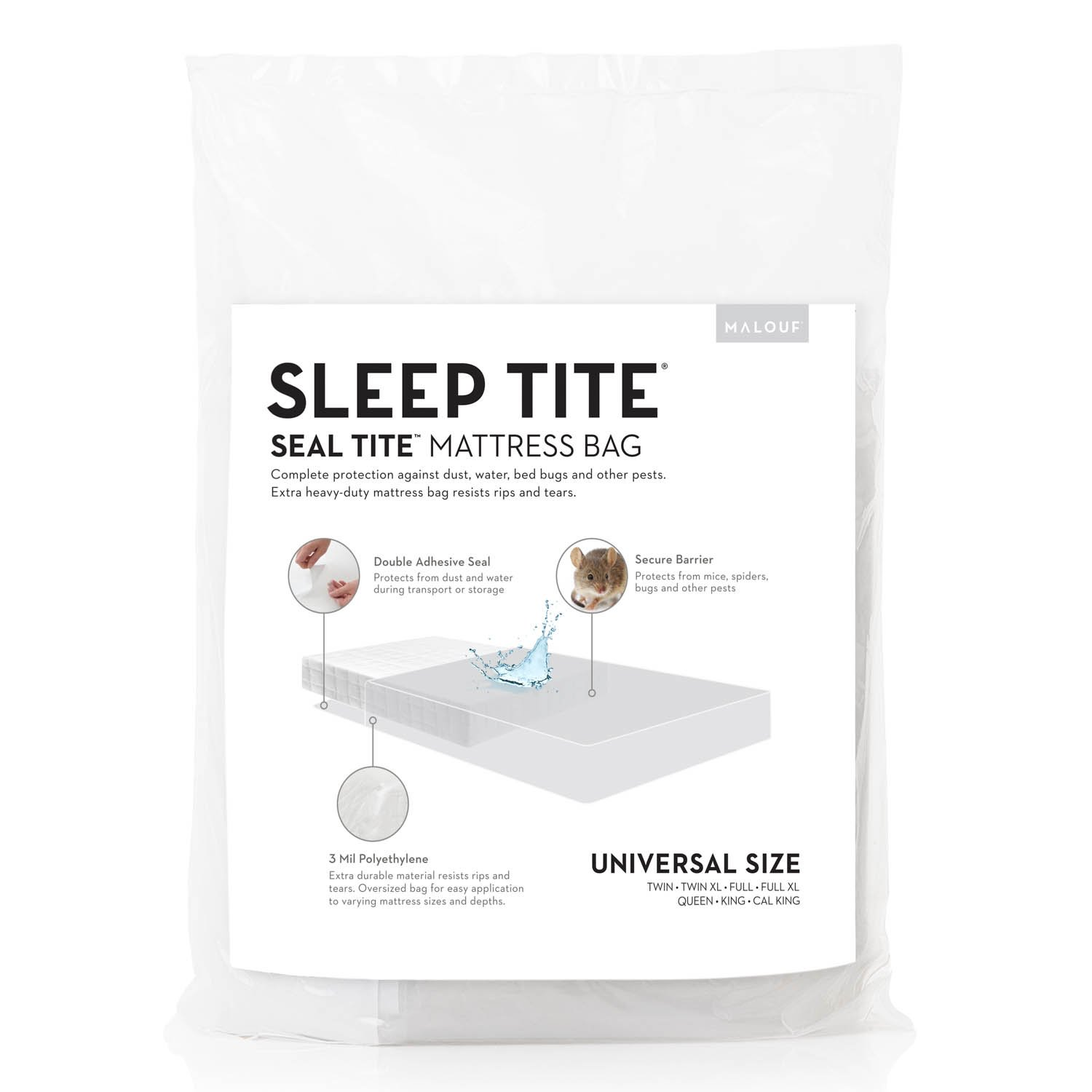 SEAL TITE Heavy Duty Sealable Mattress Storage Bag - Protects Your Mattress While Moving or in Storage - King/California King