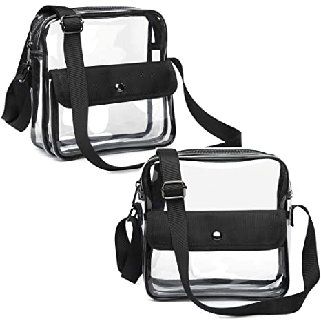 fbba21cd49b8 Veckle Clear Bag NFL Stadium Approved, Clear Crossbody Messenger Bag Clear  Purse Transparent Shoulder Bag with Adjustable Strap for Adults, Women