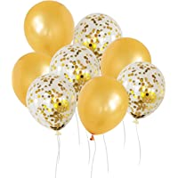 50 12-inch Latex Balloons, 25 Pearlized Pearlescent Gold+25 Transparent with Confetti Large Thick Big Round Shining…