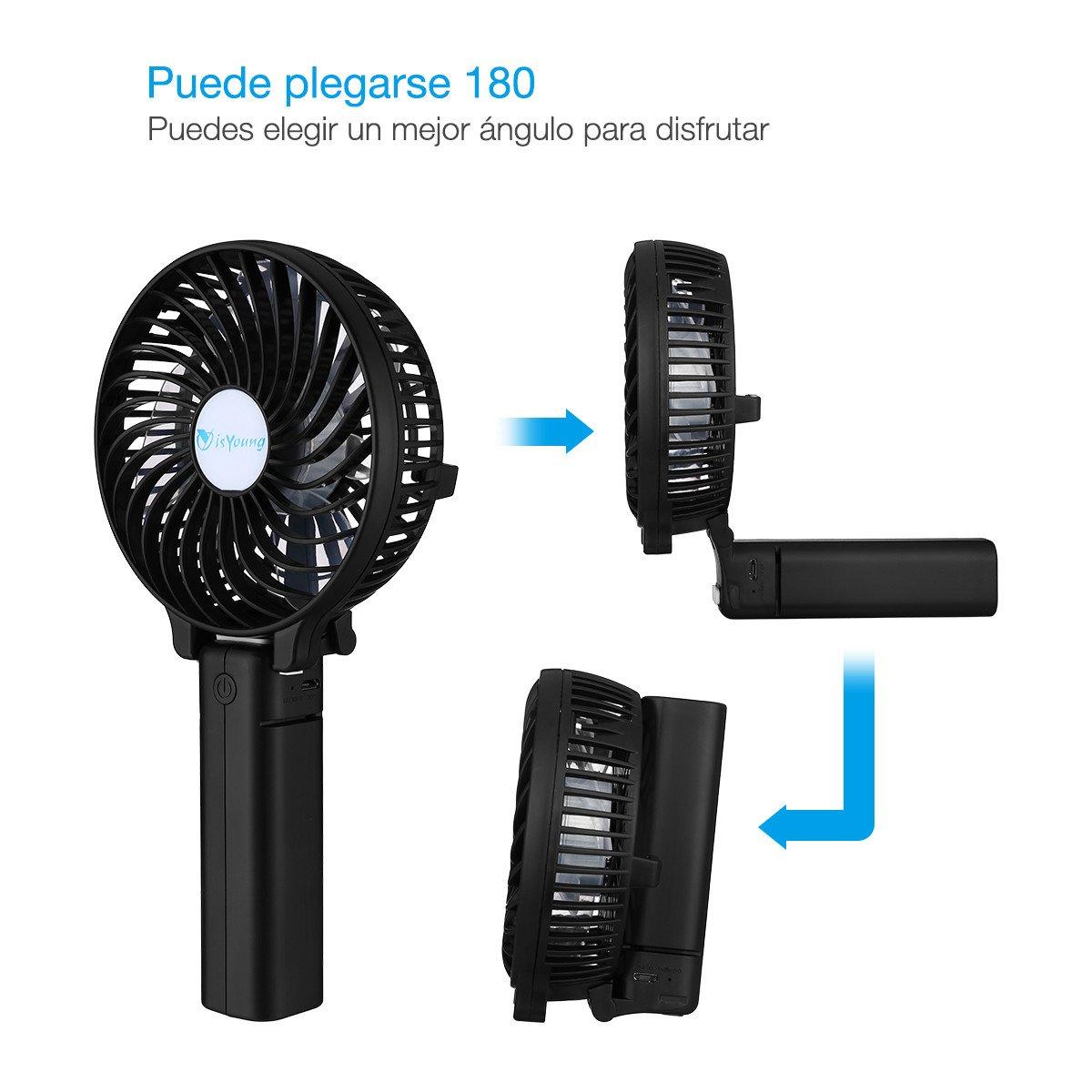isYoung Mini Ventilador de Mano Portátil Recargable con 2200mAh 18650 li-ion Batería Recargable para Oficina, Hogar y Viajes - Negro